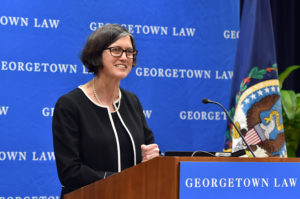 "Boston College Law Professor Mary Sarah Bilder delivers the 2019 Ryan Lecture, ""The Lady and George Washington: Female Genius in the Age of the Constitution."""