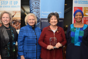 Kathy Calvin, president, UN Foundation; Ambassador Melanne Verveer, executive director of the Georgetown Institute for Women, Peace and Security; Rep. Lois Frankel (D-Fla.)(L'73); and United Nations Under Secretary-General Phumzile Mlambo-Ngcuka.