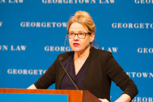 Professor Victoria Nourse was installed as Georgetown Law's inaugural Ralph V. Whitworth Professor of Law in February.