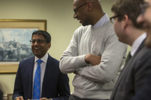 Judge Sri Srinivasan of the U.S. Court of Appeals for the D.C. Circuit speaks to students at a reception after oral arguments.