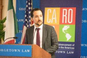 Professor Alvaro Santos and CAROLA hosted a conference on April 22 regarding the U.S.-Mexico-Canada Trade Agreement (USMCA).