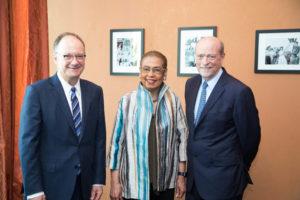 Georgetown University President John J. DeGioia, Congresswoman Eleanor Holmes Norton, Georgetown Law Dean William M. Treanor.