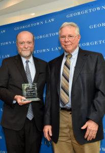 Dean William M. Treanor with Professor Steven Goldblatt.
