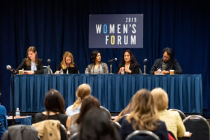 Alexandra Givens of Georgetown Law's Institute for Technology Law & Policy leads a panel at Georgetown University's 2019 Women's Forum with Distinguished Fellow Terrell McSweeny, Subha Madavan of the Georgetown University Medical Center, Ghita Harris-Newton (L'99), Alyssa Harvey Dawson (L'96).