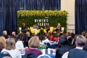 Georgetown Law Professor Hillary Sale (right) leads a panel at Georgetown University's 2019 Women's Forum with Juliette Pryor (L'91, MS'91), Fatima Goss Graves of the National Women's Law Center, and Nicolina O'Rourke (B'00).