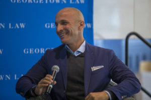 Pete Bevacqua (L'97), president of NBC Sports Group, spoke to students in a conversation with Professor Brad Snyder at Georgetown Law in April.