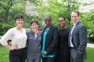 Gabriella Ferrara (L'19), Professor Abbe Smith, Executive Assistant Teruko Richardson, Fellow Eboni Blenman, and Christopher Herr (L'19) of the Criminal Defense & Prisoner Advocacy Clinic.