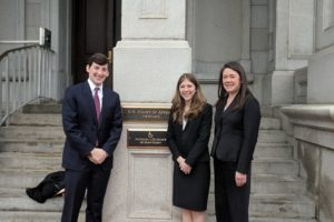 Aaron Steeg (L'19) and Claire Cahill (L'19) with Professor Erica Hashimoto of the Appellate Litigation Clinic after Cahill argued before the U.S. Fourth Circuit Court of Appeals in January.