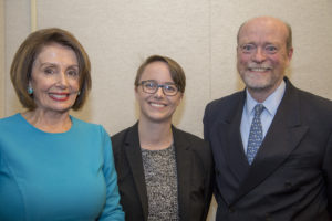 House Speaker Nancy Pelosi (D-Calif.)(H'02), with Ashley Nicolas (L'19) and Dean William M. Treanor before the May 16 event.