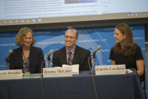 Professor Laura Donohue, Research Librarian Jeremy McCabe and Adjunct Professor Carrie Cordero launched the Center on National Security's Foreign Intelligence Law Collection. The center's Executive Director, Nadia Asancheyev, introduced the panel.