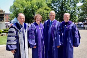 Commencement 2019: Georgetown University President John J. DeGioia, left, and Georgetown Law Dean William M. Treanor, right, with honorary degree recipients Barbara Underwood (L'69)(H'19) and Judge Emmet G. Sullivan (H'19). Underwood, the solicitor general of the State of New York, delivered the Commencement address.