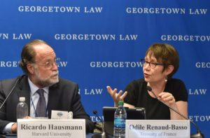 Harvard University's Ricardo Hausmann and Odile Renaud-Basso, director of the French Treasury.