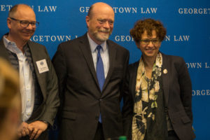 """Professor Ugo Panizza of the Graduate Institute in Geneva, Georgetown Law Dean William M. Treanor, and Professor Anna Gelpern at """"Debtcon,"""" a conference co-sponsored by the Institute of International Economic Law, in April."""