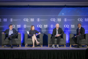 Brad Carr, senior director of Digital Finance Regulation and Policy at the Institute of International Finance; Amy Kim, chief policy officer at the Chamber of Digital Commerce; and Tim Swanson, founder of Post Oak Labs, with Professor Chris Brummer.