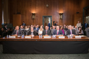 "On July 9, Professor Angela Campbell (second from left), who directs the Institute for Public Representation's Communications & Technology Law Clinic, testified before the Senate Committee on the Judiciary in a hearing on ""Protecting Innocence in a Digital World."" (Photo Courtesy U.S. Senate)"