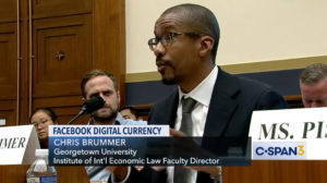 Professor Brummer testifying on the Hill, from C-SPAN.