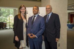 """Alexandra Givens of Georgetown Law's Institute for Technology Law & Policy with D.C. Attorney General Karl Racine and Georgetown Law Professor David Vladeck at """"Tech Foundations for Congressional Staff"""" on August 13."""