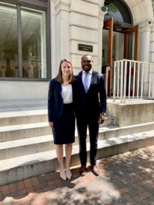 Teresa Rubinger (L'19) and Elijah Staggers (MLS'16, L'19), now alumni, won a case in the Fourth Circuit as student lawyers.