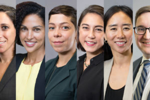 Georgetown Law tenure-track Professors Yael Cannon, Vida Johnson, Amanda Levendowski, Laura Moy and K-Sue Park, with Legal Practice Professor Jonah Perlin. Four of the six are already well known at the Law Center; two are new arrivals on campus.