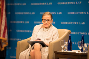 Justice Ruth Bader Ginsburg in Georgetown Law's Hart Auditorium on September 12. She addressed the 1L entering class and then joined Dean William M. Treanor for a discussion.