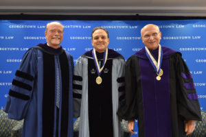 Dean William M. Treanor, Professor Carlos M. Vázquez, and Professor David Luban at Vázquez's installation as the second Scott K. Ginsburg Professor of Law on September 25.