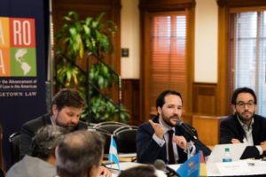 Professor Alvaro Santos, faculty director of Georgetown Law's Center for the Advancement of the Rule of Law in the Americas (CAROLA), speaks at the September 16 workshop on Investor-State Dispute Settlement (ISDS) Reform.