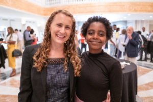 "Rebecca Epstein, director of Georgetown Law's Center on Poverty and Inequality, with 12-year-old student activist Naomi Wadler at ""Girlhood Interrupted"" at the National Museum of Women in the Arts on September 8."