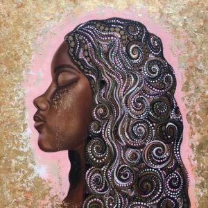 """""""Ashley Joi created this painting (of a woman's head) to uplift Black girls by using symbolism derived from Yoruba mythology."""