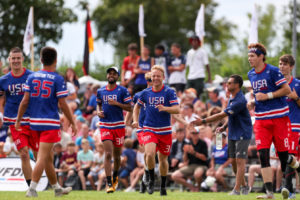 "Christian Boxley (C'18) and Jackson ""Chance"" Cochran (L'21), center, won gold together at the men's World Under 24 (U24) Ultimate (Frisbee) Championships in Heidelburg, Germany, in July 2019 ― both as members of the United States U24 Men's Ultimate National Team."