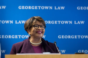 Professor Emma Coleman Jordan at Georgetown Law's conference on Law and Macroeconomics on September 27. Jordan led a discussion with Professor Daniel K. Tarullo, a former member of the Federal Reserve who teaches at both Harvard and Georgetown, and former Fed Chair Janet L. Yellen.