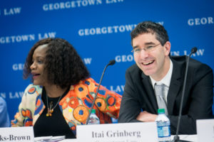 Rhoda Weeks-Brown, general counsel at the International Monetary Fund, and Georgetown Law Professor Itai Grinberg.