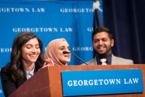 MLSA Co-Presidents Sarah Jonny (L'21) and Tooba Hussain (L'21), and MLSA Treasurer Hassan Ahmad (L'21).