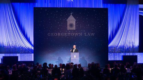 Dean William Treanor speaks at the 2019 Reunion Gala and Award Presentation.