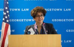 Professor Anna Gelpern at podium.