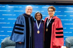 Georgetown Law Dean William M. Treanor, Professor Sheila R. Foster and Professor Sheryll Cashin all spoke at Foster's installation as the Scott K. Ginsburg Professor of Urban Law and Policy on October 2.