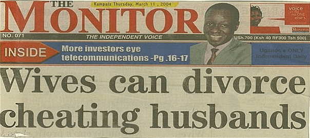 The Monitor's headline: Wives can divorce cheating husbands