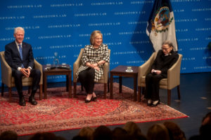 Former President Bill Clinton, former Secretary of State/Senator Hillary Rodham Clinton, and Supreme Court Justice Ruth Bader Ginsburg onstage in Hart Auditorium on October 30.