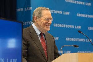 "Professor Peter Edelman, faculty adviser of the Georgetown Journal of Poverty Law & Policy, introduced the Journal's symposium, ""Fulfilling Olmstead: Community Living for People with Disabilities,"" at Georgetown Law on November 1."