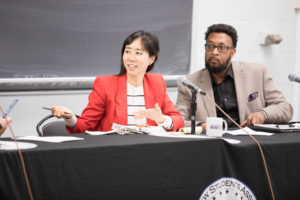 Professor K-Sue Park and Professor Anthony Cook discussed displacement and dispossession in American Property Law at an event cohosted by the Black Law Students Association and the Native American Law Students Association during Intersectionality Week, November 4 through 8.