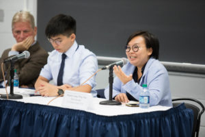Columbia University's Michael Davis, a former professor of law at Hong Kong University; Joshua Wong, a prominent Hong Kong activist; and Bonnie Leung, vice chair of the Civil Human Rights Front, a human rights organization in Hong Kong discuss protests in Hong Kong.