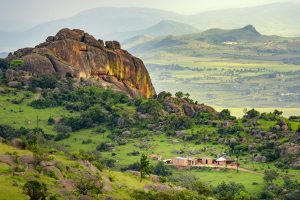 A valley between Mbabane and Manzini cities in Eswatini.