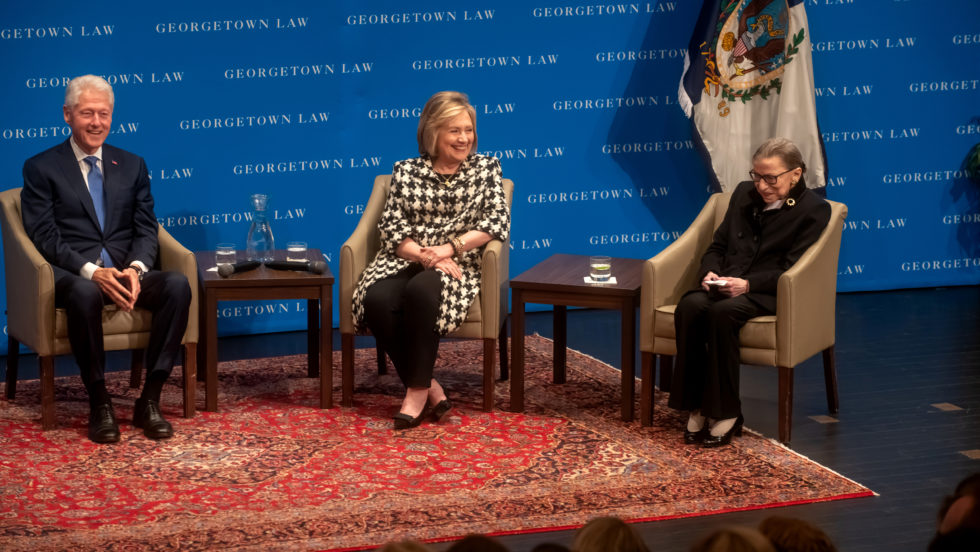 Second annual Ginsburg lecture with Bill and Hillary Clinton onstage in Hart Auditorium