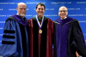 Georgetown Law Dean William M. Treanor, Professor David A. Hyman, and Professor Lawrence O. Gostin at the installation of Hyman (an expert on the regulation and financing of health care) as the Scott K. Ginsburg Professor of Health Law & Policy on November 13.