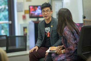 Musician and Activist Simon Tam with Professor Madhavi Sunder