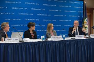 Robert Barnes moderated a panel featuring American University Professor Amanda Cohen Leiter, Erin M. Murphy (L'06) of Kirkland & Eliis and Harvard Law Professor Richard Lazarus.