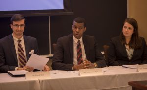 """Students participating in the Week One course: """"Congressional Hearing Simulation: Updating the Fair Labor Standards Act for Today's Economy."""""""