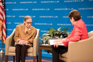 U.S. Supreme Court Justice Ruth Bader Ginsburg in conversation with U.S. Appeals Court Judge M. Margaret McKeown (L'75, H'05) at Georgetown Law on February 10.