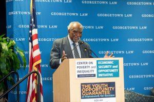 U.S. Representative Danny K. Davis speaking at the Center on Poverty event.