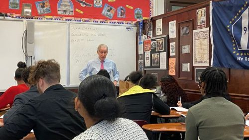 Dean Cornblatt speaking to students