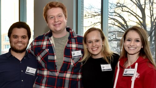 Students gather to meet Cohort 3 students recently accepted into Business Law Scholars